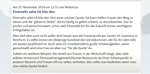 Screenshot Kommentar zur Frauenqoute