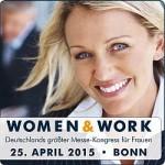 Banner der Messe women&work mit blonder Frau und Messedaten für 2015