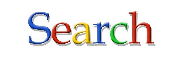 Das Wort SEARCH in den Farben des Google Schriftzuges