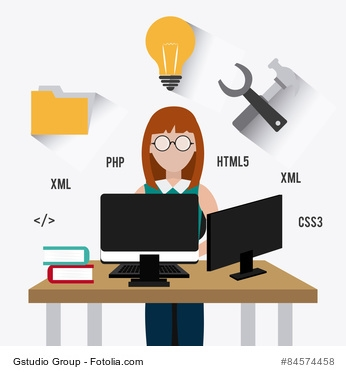 Software design over white background, vector illustration. Frauen in der IT-Branche