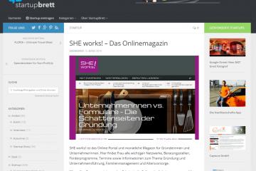 Screenshot SHE works! auf dem Startupbrett von Lukas Herbst
