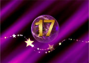 SHEworks Adventskalender Türchen 17 lila Kugel mit goldener 17