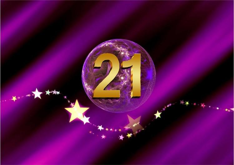 SHEworks Adventskalender Türchen 21 lila Kuge mit goldener 21