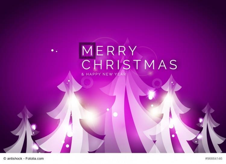 Merry Christmas weißen Tannen und lila Hintergrund