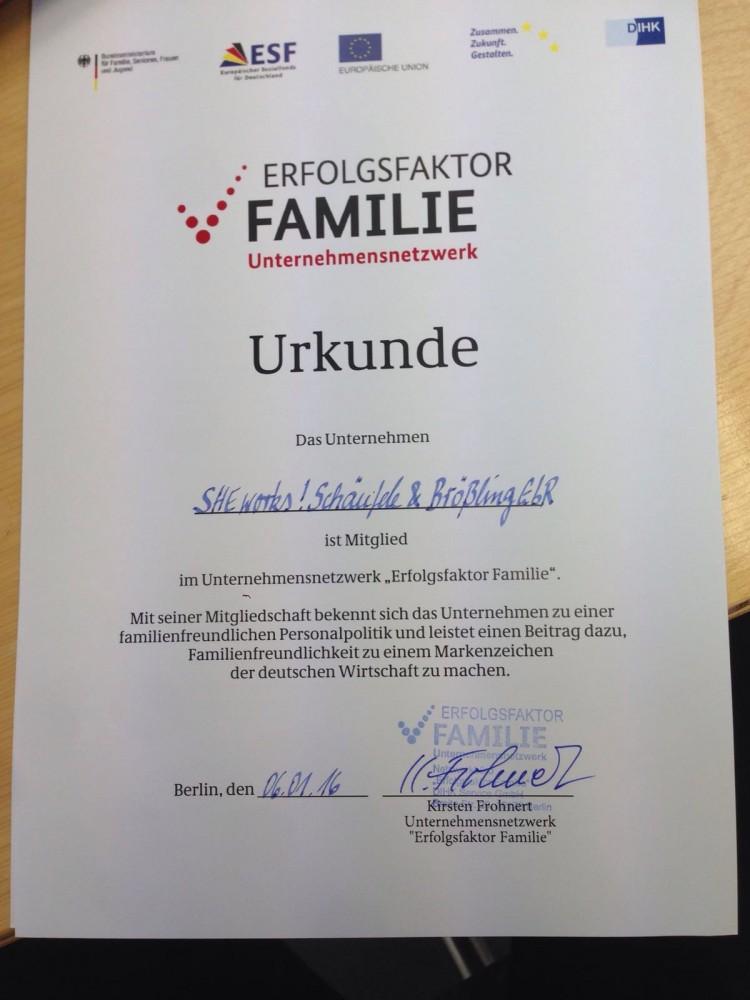 Urkunde SHE works! Mitglied bei Erfolgsfaktor Familie
