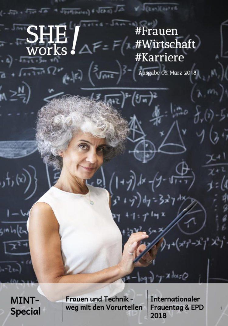 Frauen und Technik, Frau vor Tafel mit Formeln