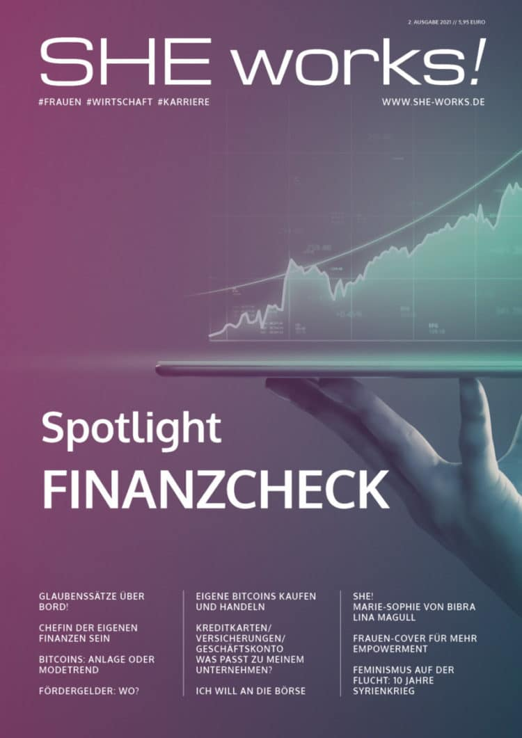 Spotlight FINANZCHECK – Das SHE works! Magazin im April 2021